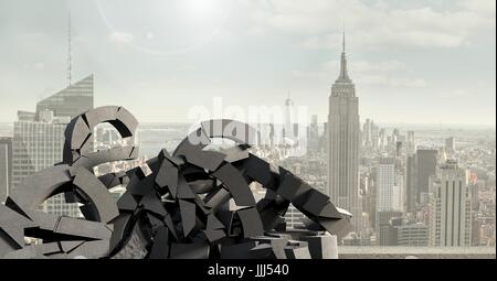 3D Broken concrete stone with money symbol in cityscape - Stock Photo