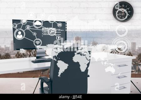 World map with connection icons in office cabin - Stock Photo