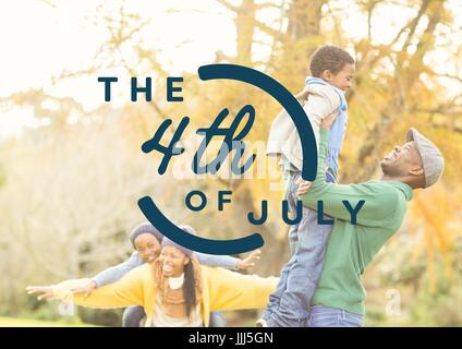 Blue fourth of July graphic against family in forest - Stock Photo