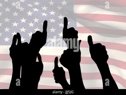 Shadow of people with thumbs up against american flag - Stock Photo