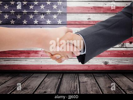 People shaking theur hands against 3D american flag - Stock Photo