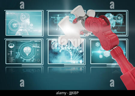 Composite 3d image of cropped of red robotic hand holding puzzle piece - Stock Photo