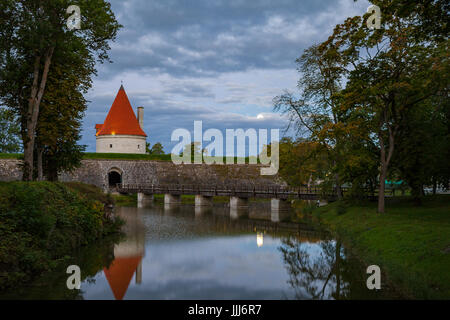 Colorful sunrise over Kuressaare castle, summer time. Saaremaa island, Estonia - Stock Photo