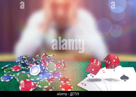 Composite image of composite 3d image of red dice - Stock Photo