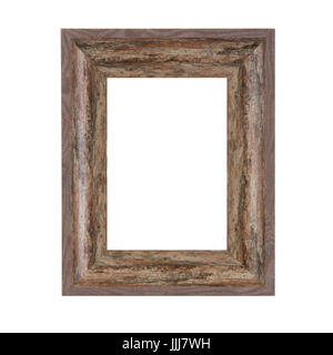 Rustic Vintage Wooden Frame on a white background - Stock Photo