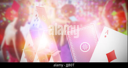 Composite 3d image of smiling friends dancing on dance floor - Stock Photo