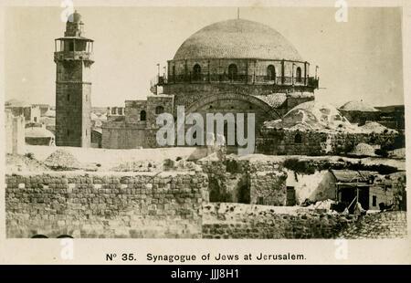 Hurva Synagogue, Jerusalem, 20th century also known as Hurvat Rabbi Yehudah he-Hasid (Ruin of Rabbi Judah the Pious. - Stock Photo