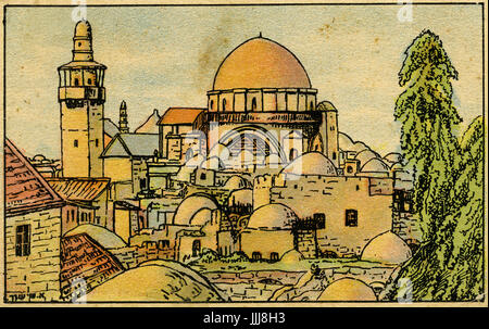 Hurva Synagogue, Jerusalem, illustration by S Schnur, 20th century. also known as Hurvat Rabbi Yehudah he-Hasid - Stock Photo