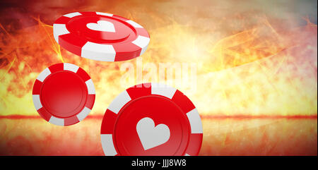 Composite image of vector 3d image of red casino token with hearts symbol - Stock Photo