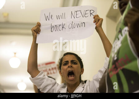 Washington, District Of Columbia, USA. 19th July, 2017. A protester chants in the Russell Senate Office Building - Stock Photo