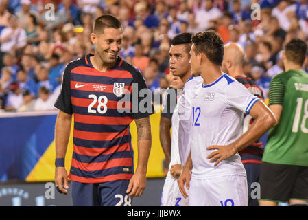 Clint Dempsey of the USMNT United States Mens National Team jokes / laughs / smiles during a soccer | football match - Stock Photo