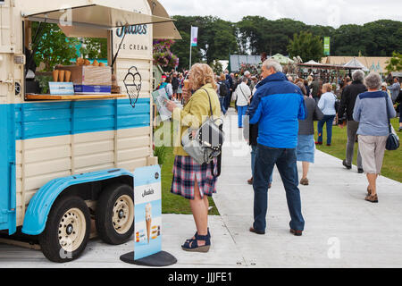Icecream van at Knutsford, Cheshire. 20th July, 2017. Visitors and Exhibitors at the RHS Flower Show held at Tatton - Stock Photo
