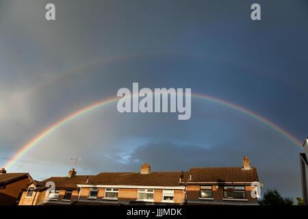 Belfast, Northern Ireland, UK. 20th July, 2017. UK Weather: Rainbow in Belfast after heavy rain Credit: Bonzo/Alamy - Stock Photo