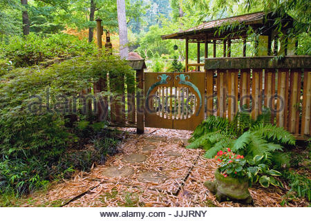 ... Private Japanese Garden Arbor And Fence In USA   Stock Photo Part 96