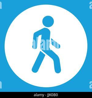 Pedestrians only road sign icon white - Stock Photo