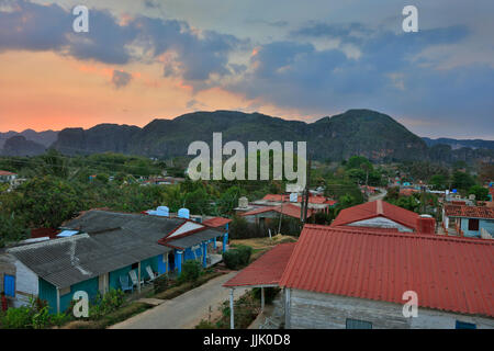 Sunset from a Casa Particulares rooftop - VINALES, PINAR DEL RIO, CUBA - Stock Photo