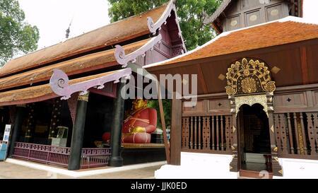 Fat Buddha Statue sculpture in Wat Chedi Luang Worawihan, Chiang Mai, Thailand. - Stock Photo