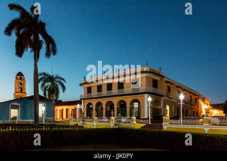 The MUSEO ROMANTICO is housed in the former PALACIO BRUNET on the PLAZA MAYOR - TRINIDAD, CUBA - Stock Photo