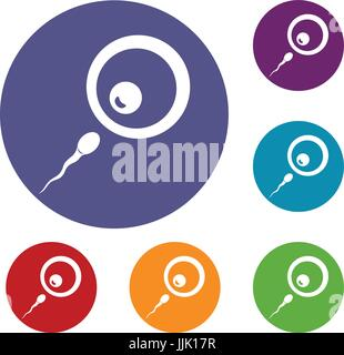 Donor sperm icons set - Stock Photo