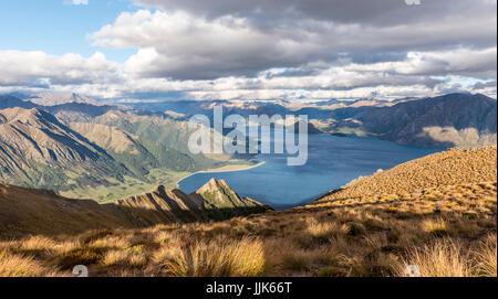 Alpine landscape, Lake Hawea and mountain panorama, Isthmus Peak Track, Otago, South Island, New Zealand, Oceania