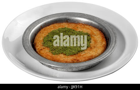 Kunefe, Traditional Turkish Dessert Kunefe isolated on white - Stock Photo