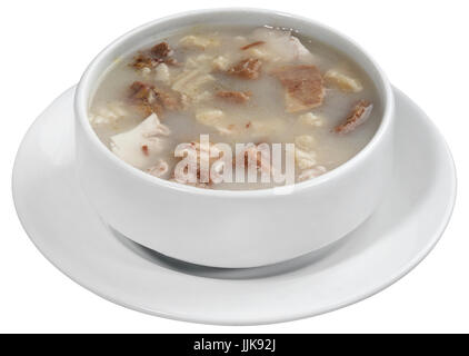 Tripe mixed soup, belle paca soup, tripe soup, iskembe corbasi, turkish traditional - Stock Photo