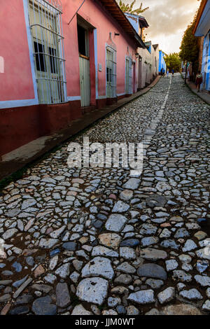 The cobble stone streets and colorful houses of TRINIDAD, CUBA - Stock Photo