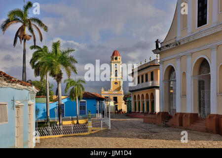 The bell tower of the  MUSEO NACIONAL DE LA LUCHA CONTRA BANDIDOS from the PLAZA MAYOR - TRINIDAD, CUBA - Stock Photo