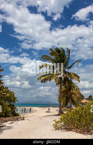 The tropical island of CAYO IGUANA reached by boat from PLAYA ANCON is a tourist destination - TRINIDAD, CUBA - Stock Photo