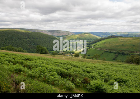 The view of the landscape from Horseshoe Pass on the A542 road near Llangollen in Wales - Stock Photo