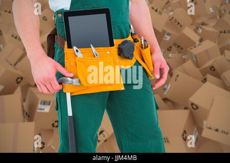 Composite 3d image of construction worker wearing tools belt - Stock Photo