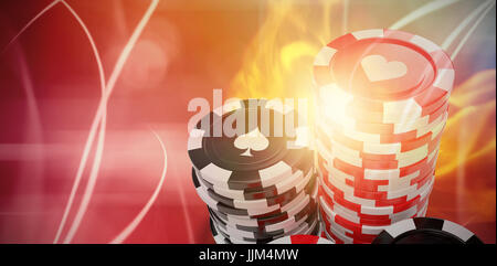 Composite 3d image of vector image of gambling chips - Stock Photo