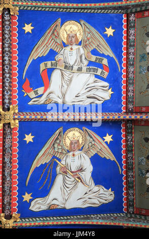 Painted ceiling by Mildred Holland 1863-66, Huntingfield church, Suffolk, England, UK - Stock Photo