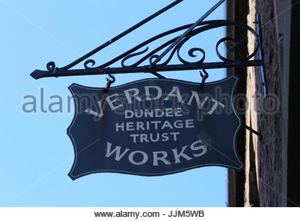 Sign at Verdant Works Jute Mill Museum Dundee Scotland  July 2017 - Stock Photo