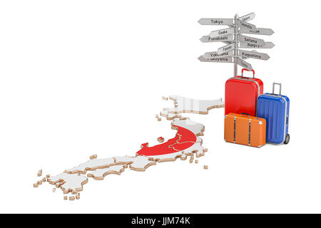 Japan Map And Flag Transportation And Tourism Concept Stock - Japan map 3d