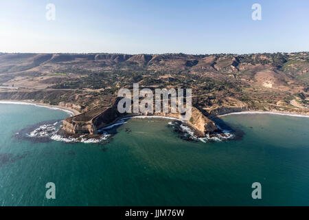 Aerial view of Sacred Cove at Abalone Cove Shoreline Park in Rancho Palos Verdes near Los Angeles, California. - Stock Photo