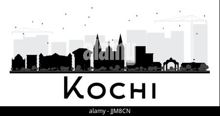 Kochi City skyline black and white silhouette. Vector illustration. Simple flat concept for tourism presentation, - Stock Photo