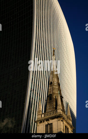 Spire of St Margaret Pattens church in front of 20 Fenchurch Street (Walkie Talkie), City of London, UK - Stock Photo