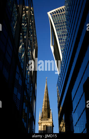 20 Fenchurch Street (Walkie Talkie) and St Margaret Pattens church, City of London, UK - Stock Photo