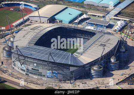 An aerial view of the City of Manchester Stadium, home of Manchester City FC - Stock Photo