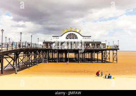 Cleethorpes pier UK England building exterior beach, Cleethorpes pier, Cleethorpes pier building, Cleethorpes pier - Stock Photo