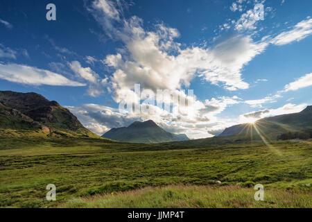 The valley next to the wordl famous Glencoe mountain in Scotland. - Stock Photo