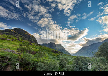 Afternoon view of the valley next to Bidean Nam Bian in Scotland. - Stock Photo