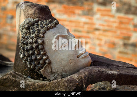 Ruins of an Buddha Image Headl at Phutthaisawan Temple in Ayuthaya Historical Park, UNESCO World Heritage Site in - Stock Photo