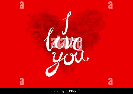 Watercolor Valentines Day Heart lettering I love you in pink, red and orange color on light background. Vector art - Stock Photo