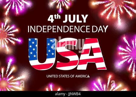 vector Fireworks background for 4th of July Independense Day. Fourth of July Independence Day card. Independence - Stock Photo