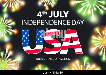 Fireworks background for 4th of July Independense Day vector art - Stock Photo