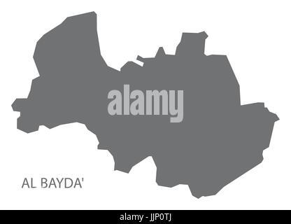 Al Bayda Yemen governorate map grey illustration silhouette shape - Stock Photo