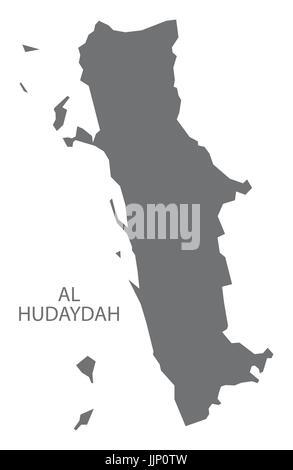 Al Hudaydah Yemen governorate map grey illustration silhouette shape - Stock Photo