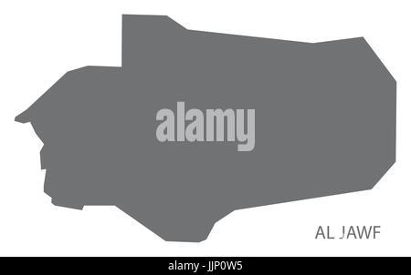 Al Jawf Yemen governorate map grey illustration silhouette shape - Stock Photo